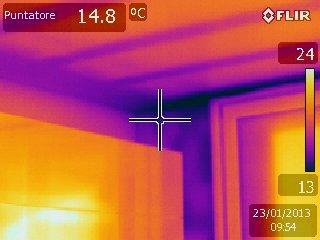 Dispersioni da pareti e copertura evidentri tracce impiantistiche a parete