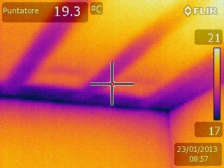 Dispersione dalla copertura (in evidenza nel soffitto le parti strutturali e le maggiori dispersioni)